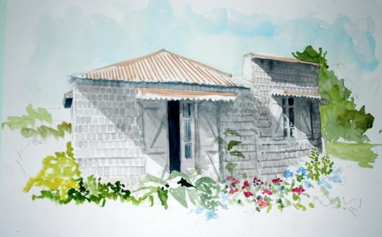 vieille case bois au Tévelave