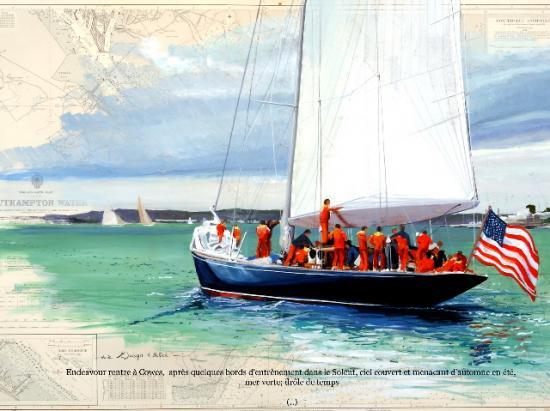 """""""endeavour"""" arrivée à Cowes"""