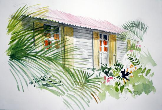 volets jaunes, toit rouge, les Avirons