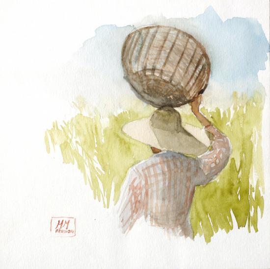 femme au panier (20x20) VENDUE