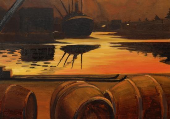 Coucher de soleil sur le port (détail)