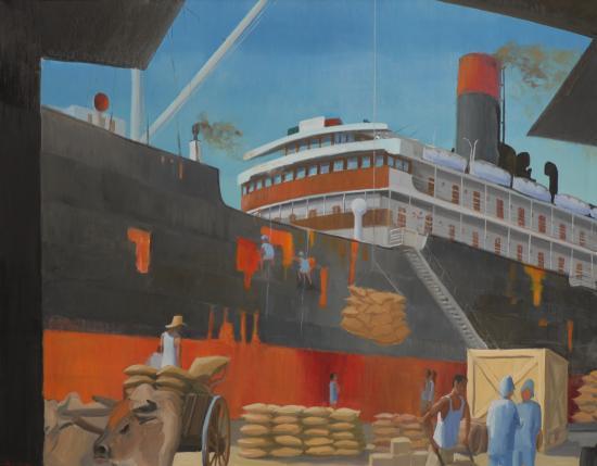 Chargement au Port (145x115) huile sur toile